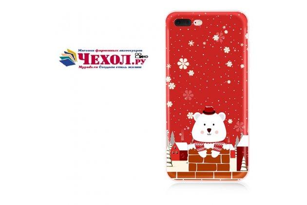 """Фирменная уникальная задняя панель-крышка-накладка из тончайшего силикона для iPhone 7 Plus   5.5 PRODUCT RED Special Edition с объёмным 3D рисунком тематика """"Мишка в шляпе"""""""