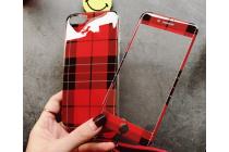 Фирменная ультра-тонкая полимерная задняя панель-чехол-накладка из силикона для iPhone 7 Plus + 5.5 PRODUCT RED Special Edition с закаленным стеклом красная в клетку