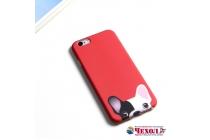 """Фирменная уникальная задняя панель-крышка-накладка из тончайшего силикона для iPhone 7 Plus   5.5 PRODUCT RED Special Edition с объёмным 3D рисунком тематика """"Французский бульдог"""""""