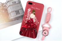 """Фирменная уникальная задняя панель-крышка-накладка из тончайшего силикона для iPhone 7 Plus   5.5 PRODUCT RED Special Edition с объёмным 3D рисунком тематика """"Красное платье"""""""