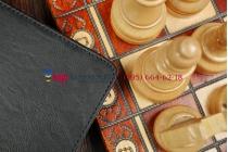 """Чехол бизнес класса для Айпад Айр с визитницей и держателем для руки черный натуральная кожа """"Prestige"""" Италия"""