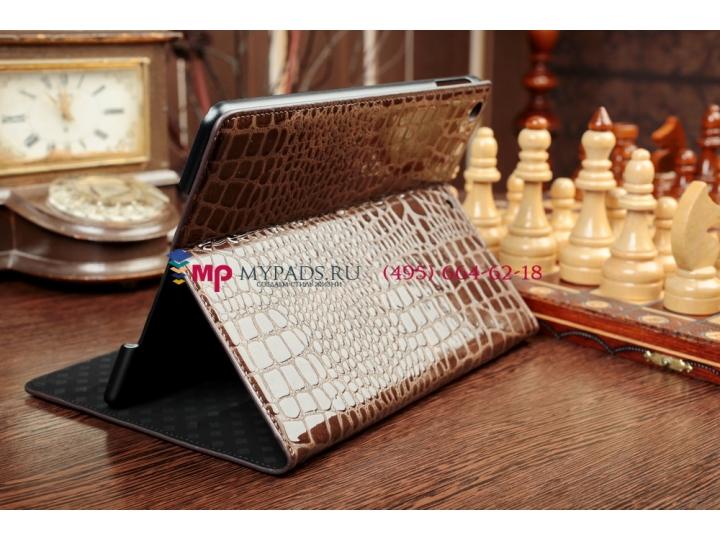 Фирменный чехол-футляр с мульти-подставкой для iPad Air 1 кожа крокодила шоколадный коричневый..