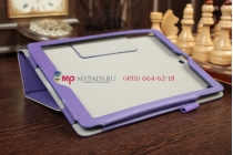 """Чехол-книжка для iPad Air 1 MD794/791/795/792785/788789796/793/987 RU/A с визитницей и держателем для руки фиолетовый натуральная кожа """"Prestige"""" Италия"""