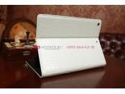 Фирменный чехол-книжка с мульти-подставкой для iPad Air 1 лаковая кожа крокодила молочный белый..