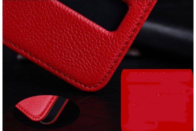Чехол-книжка из импортной кожи для iPhone 4S королевский красный с окошком и свайпом