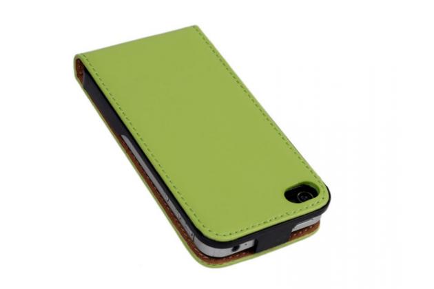 Вертикальный откидной чехол-флип из импортной кожи для iPhone 4S зеленый