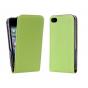 Вертикальный откидной чехол-флип из импортной кожи для iPhone 4S зеленый ..