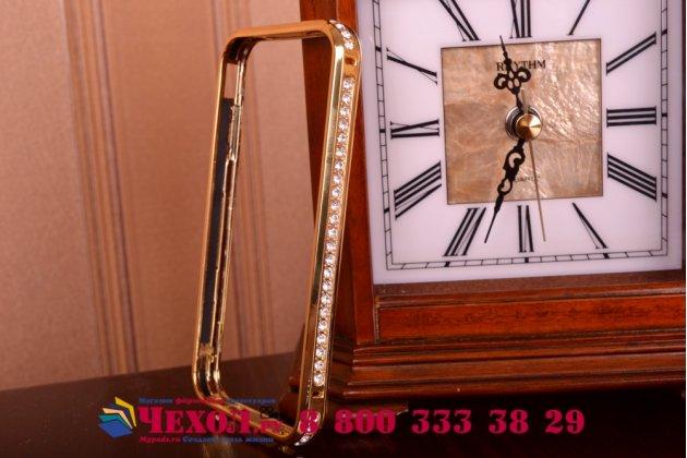 Фирменный роскошный ультра-тонкий чехол-бампер безумно красивый декорированный кристаликами для iPhone 4/4S золотой металлический