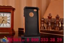 Противоударный усиленный ударопрочный фирменный чехол-бампер-пенал для iPhone 4/4S оранжевый