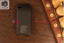 Чехол со встроенной усиленной мощной батарей-аккумулятором большой повышенной расширенной ёмкости 3000mAh для Apple iPhone 4/4S черный + гарантия