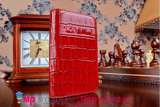 Фирменный чехол-книжка для iPhone 4/4S лаковая кожа крокодила алый огненный красный
