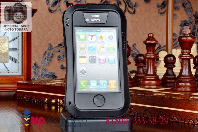 Неубиваемый водостойкий противоударный водонепроницаемый грязестойкий влагозащитный ударопрочный фирменный чехол-бампер для iPhone 4/4S цельно-металлический со стеклом Gorilla Glass