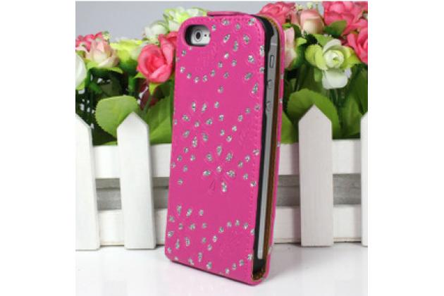 Вертикальный откидной чехол-флип для iPhone 4S розовый с блестками