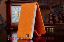 Вертикальный откидной чехол-флип для iPhone 4S оранжевый с блестками