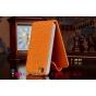 Вертикальный откидной чехол-флип для iPhone 4S оранжевый с блестками..