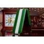 Вертикальный откидной чехол-флип из импортной кожи для iPhone 4S зеленый c белой полосой..