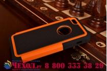 Противоударный усиленный ударопрочный фирменный чехол-бампер-пенал для Apple iPhone 5C оранжевый