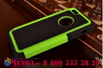 Противоударный усиленный ударопрочный фирменный чехол-бампер-пенал для Apple iPhone 5C зелёный