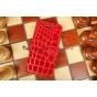 Фирменный чехол-книжка для Apple iPhone 5C лаковая кожа крокодила алый огненный красный