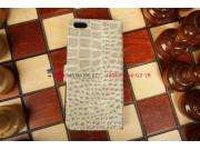 Фирменный чехол-книжка с мульти-подставкой для Apple iPhone 5C лаковая кожа крокодила серый..