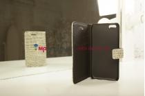 Фирменный чехол-книжка с мульти-подставкой для Apple iPhone 5C лаковая кожа крокодила серый