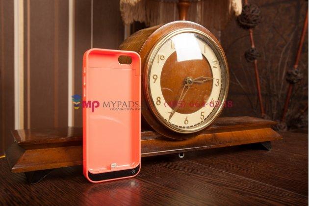 Чехол со встроенной усиленной батарей-аккумулятором большой повышенной расширенной ёмкости 2200mAh для iPhone 5C/5S/SE/ 5SE розовый пластиковый + гарантия