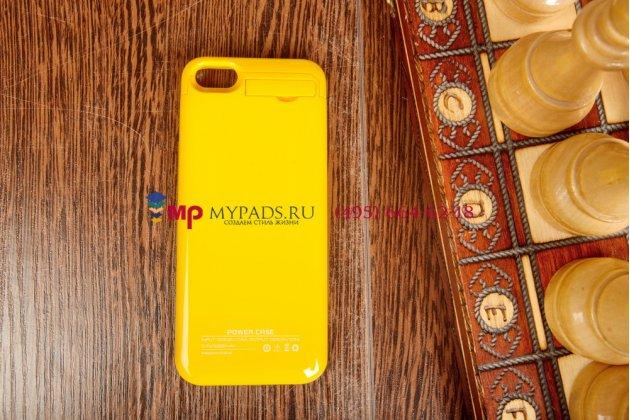Чехол со встроенной усиленной батарей-аккумулятором большой повышенной расширенной ёмкости 2200mAh для iPhone 5C/5S/SE/ 5SE желтый пластиковый + гарантия