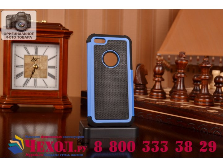 Противоударный усиленный ударопрочный фирменный чехол-бампер-пенал для Apple iPhone 5C синий..