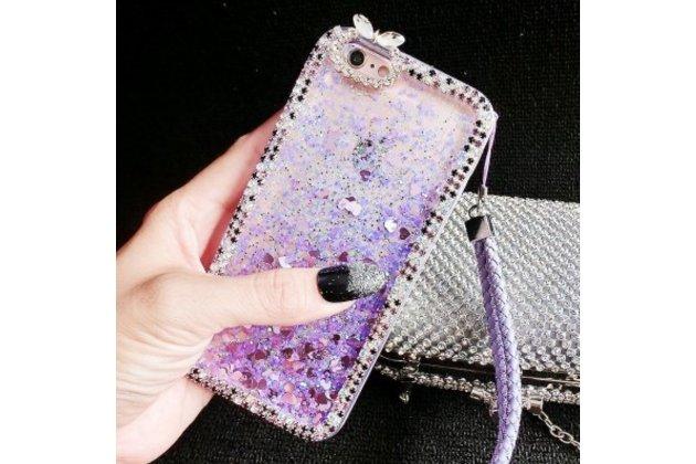 Фирменная роскошная элитная пластиковая задняя панель-накладка украшенная стразами кристалликами со втроенным АКВАРИУМОМ для iPhone 5 / 5S/ SE/ 5SE фиолетовая