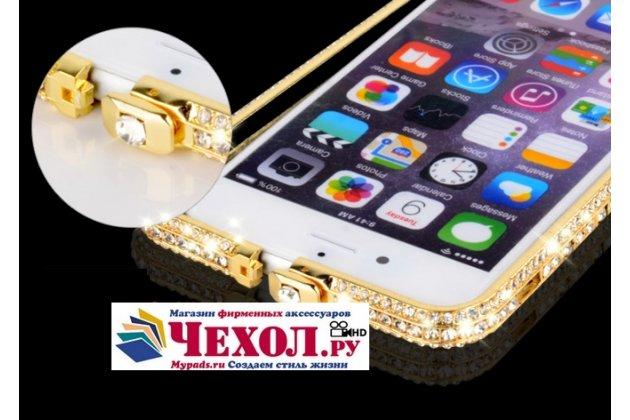 Фирменный роскошный ультра-тонкий чехол-бампер безумно красивый декорированный кристаликами для iPhone 5 / 5S/ SE/ 5SE золотой металлический