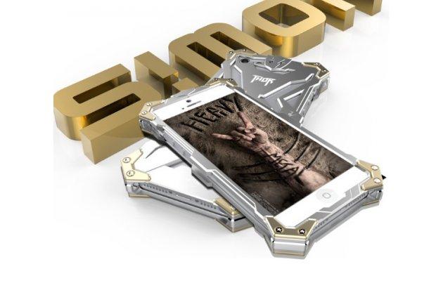 Противоударный металлический чехол-бампер из цельного куска металла с усиленной защитой углов и необычным экстремальным дизайном  для iPhone 5 / 5S/ SE/ 5SE серебряного цвета