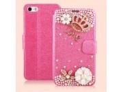 Фирменный роскошный чехол-книжка безумно красивый декорированный бусинками и кристаликами на iPhone 5 / 5S/ SE..