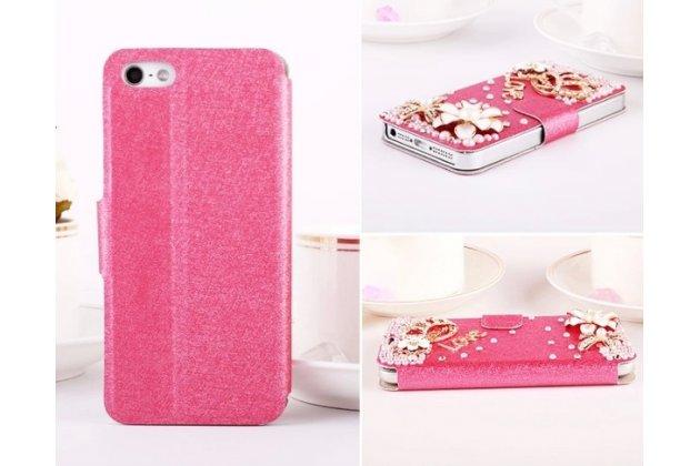 Фирменный роскошный чехол-книжка безумно красивый декорированный бусинками и кристаликами на iPhone 5 / 5S/ SE/ 5SE розовый