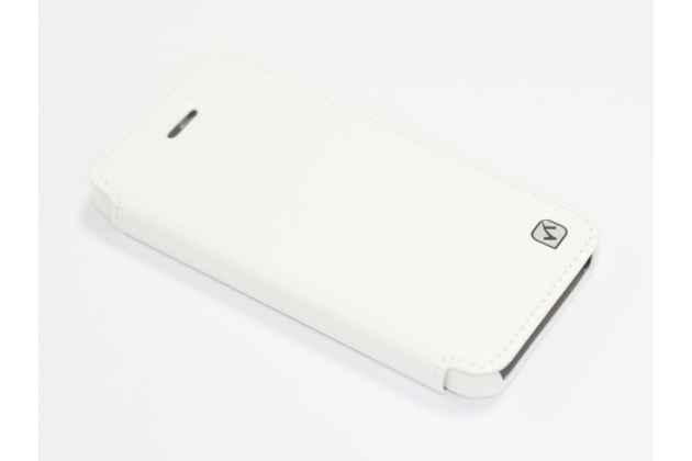 """Фирменный премиальный элитный чехол-книжка из качественной импортной кожи с мульти-подставкой и визитницей для iPhone 5 / 5S/ SE/ 5SE """"Ретро"""" белый"""