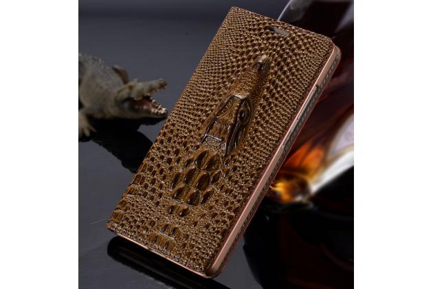 Роскошный эксклюзивный чехол с объёмным 3D изображением кожи крокодила коричневый для iPhone 5S . Только в нашем магазине. Количество ограничено