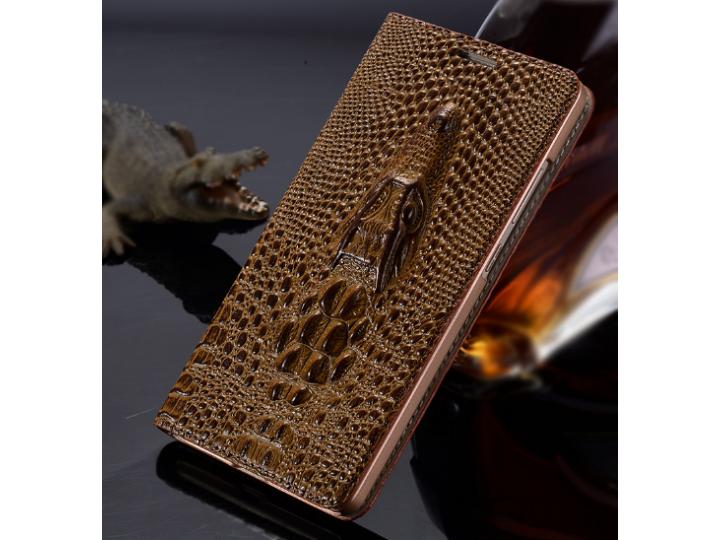 Роскошный эксклюзивный чехол с объёмным 3D изображением кожи крокодила коричневый для iPhone 5S . Только в наш..