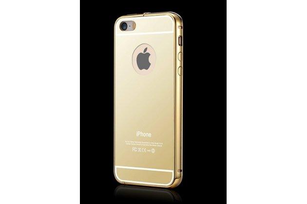 Фирменная металлическая задняя панель-крышка-накладка из тончайшего облегченного авиационного алюминия для iPhone 5 / 5S/ SE/ 5SE золотая