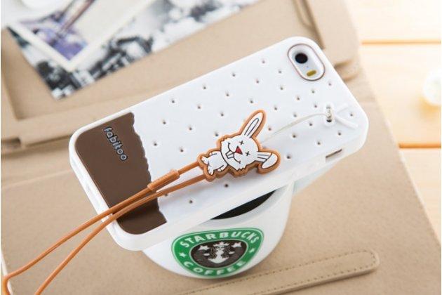 """Фирменная необычная уникальная полимерная мягкая задняя панель-чехол-накладка для iPhone 5 / 5S/ SE/ 5SE """"тематика Андроид в Белом Шоколаде"""""""