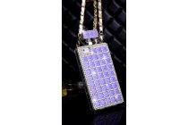 Фирменная роскошная элитная силиконовая задняя панель-накладка-сумка украшенная стразами кристалликами и декорированная элементами в форме флакона духов для iPhone 5 / 5S/ SE/ 5SE фиолетовая