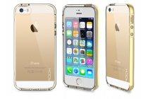 Фирменная светящаяся / c подсветкой ультра-тонкая полимерная из мягкого качественного силикона задняя панель-чехол-накладка для iPhone 5 / 5S/ SE/ 5SE золотого цвета