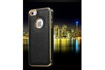 Фирменная роскошная элитная премиальная задняя панель-крышка на металлической основе обтянутая импортной кожей для iPhone 5 / 5S/ SE/ 5SE королевский черный
