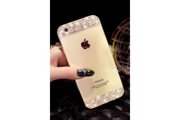 Фирменная металлическая задняя панель-крышка-накладка из облегченного авиационного алюминия украшенная стразами и кристалликами для iPhone 5 / 5S/ SE/ 5SE золотая