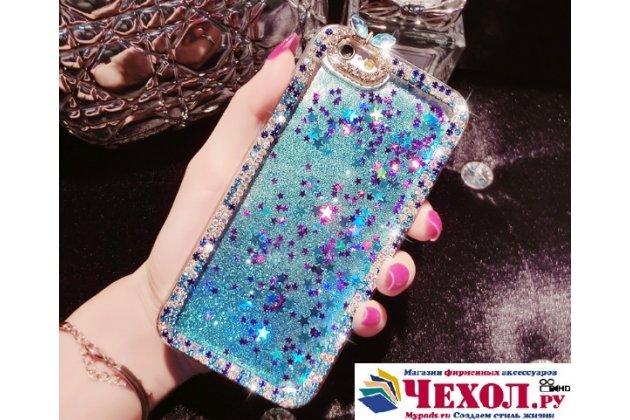 Фирменная роскошная элитная пластиковая задняя панель-накладка украшенная стразами кристалликами со втроенным АКВАРИУМОМ для iPhone 5 / 5S/ SE/ 5SE синяя