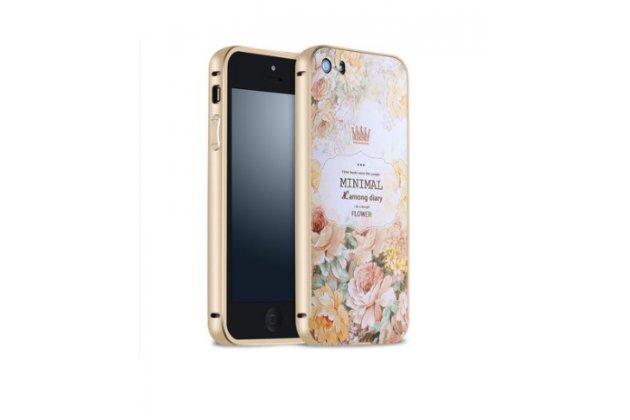 """Фирменная золотая металлическая задняя панель-крышка-накладка из тончайшего облегченного авиационного алюминия для iPhone 5 / 5S/ SE/ 5SE с объёмным 3D рисунком """"тематика королевские Розы"""""""