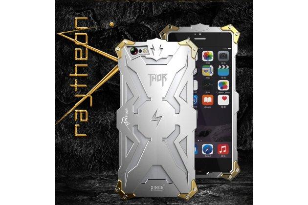 """Противоударный металлический чехол-бампер из цельного куска металла с усиленной защитой углов и необычным экстремальным дизайном  для iPhone 6+ Plus 5.5"""" серебряного цвета"""