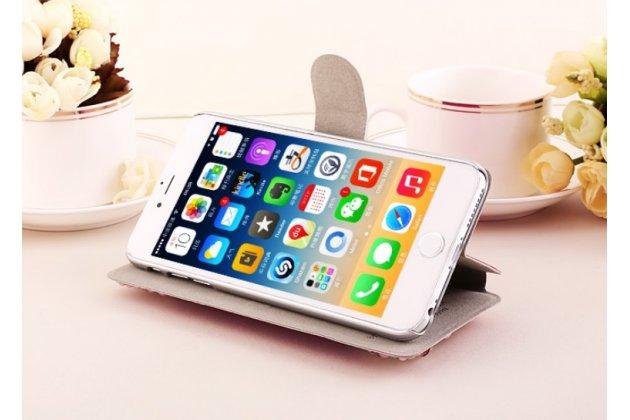 """Фирменный роскошный чехол-книжка безумно красивый декорированный бусинками и кристаликами на iPhone 6+ Plus 5.5"""" розовый"""