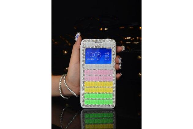 """Фирменный роскошный чехол-книжка с окошком для входящих вызовов безумно красивый декорированный кристаликами на iPhone 6+ Plus 5.5"""" радужный"""
