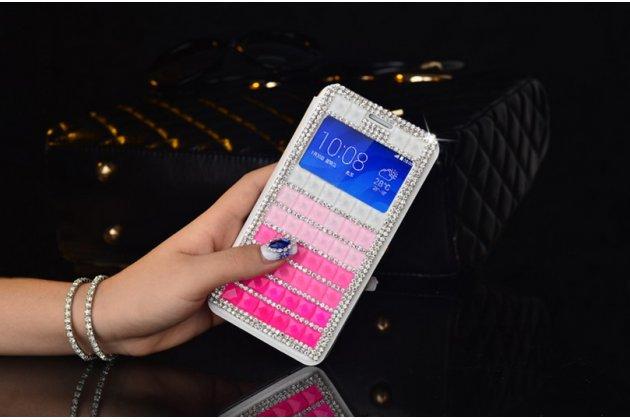 """Фирменный роскошный чехол-книжка с окошком для входящих вызовов безумно красивый декорированный кристаликами на iPhone 6+ Plus 5.5"""" розовый"""