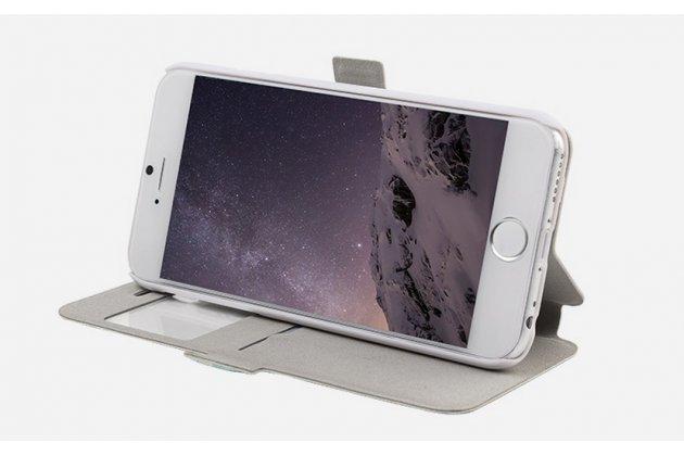 """Фирменный чехол-книжка с безумно красивым расписным рисунком черепа на iPhone 6+ Plus 5.5"""" с окошком для звонков"""