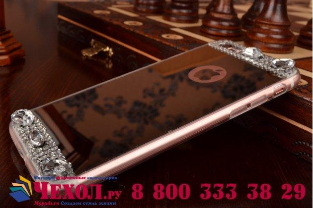 """Фирменная ультра-тонкая полимерная из мягкого качественного силикона задняя панель-чехол-накладка украшенная стразами и кристаликами для iPhone 6+ Plus 5.5""""  серебряная"""